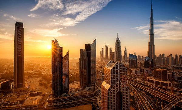 UAE---Sunset-over-Dubai---913519636